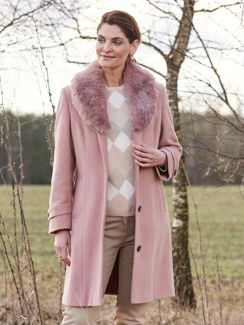 Manteau en laine mélangée avec grand col châle
