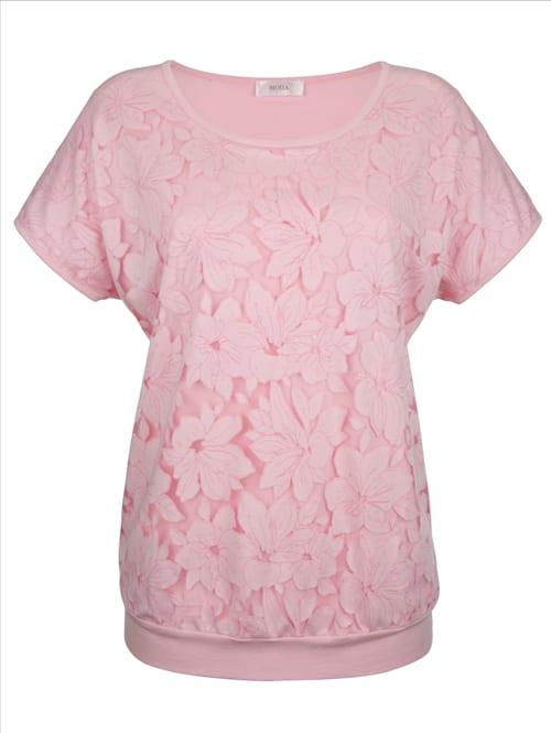Shirt in floraler Ausbrennerware