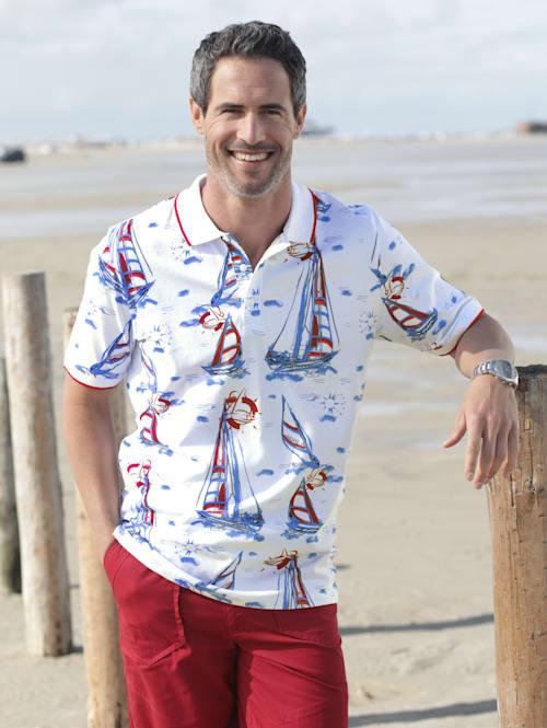Poloshirt mit maritimem Druckmuster
