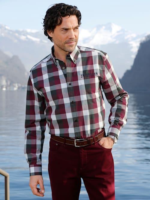 Overhemd met contrastborduursel