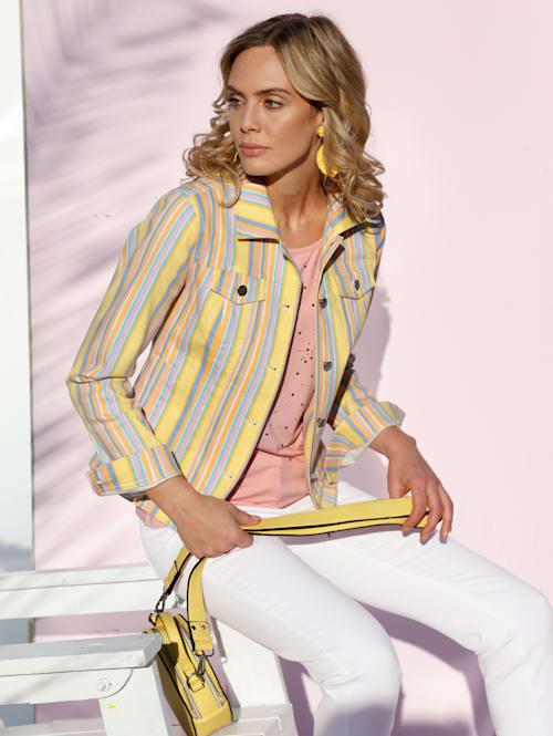 Džínsová bunda s prúžkovaným vzorom