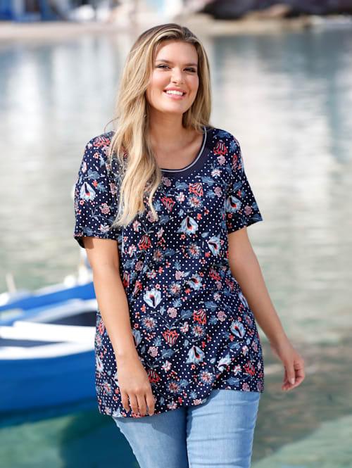 T-shirt à pois et fleurs