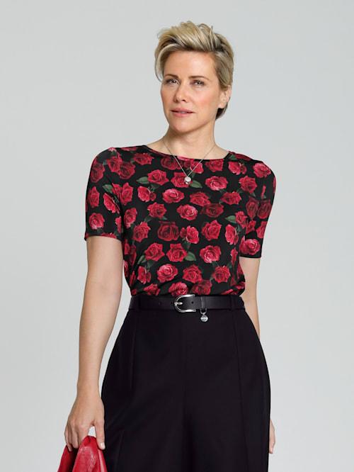 Shirt mit farbbrillantem Rosendruck