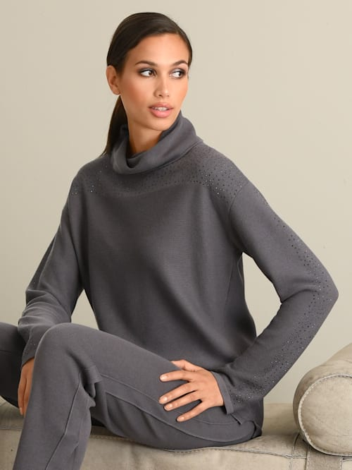 Pullover mit tonigem Strass verziert