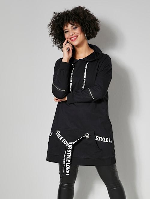 Long-Sweatshirt mit bedruckten Bändern