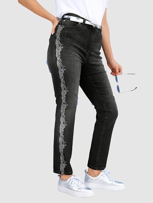 Jeans med folieprint
