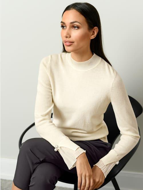Pullover mit Plisseé-Einsatz am Arm