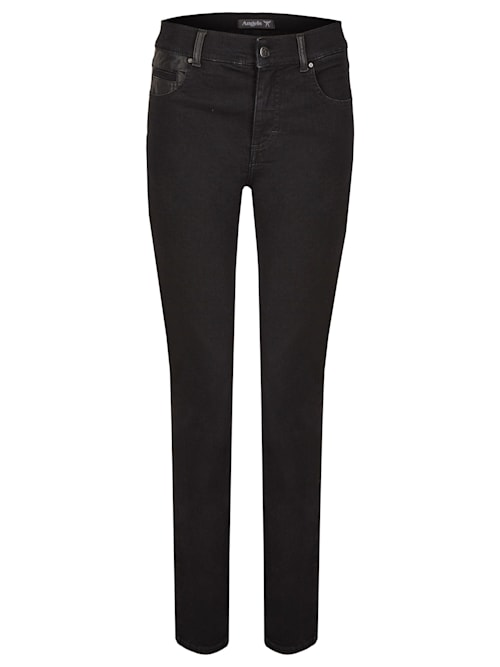 Jeans 'Skinny Patch' mit Lederimitatapplikationen