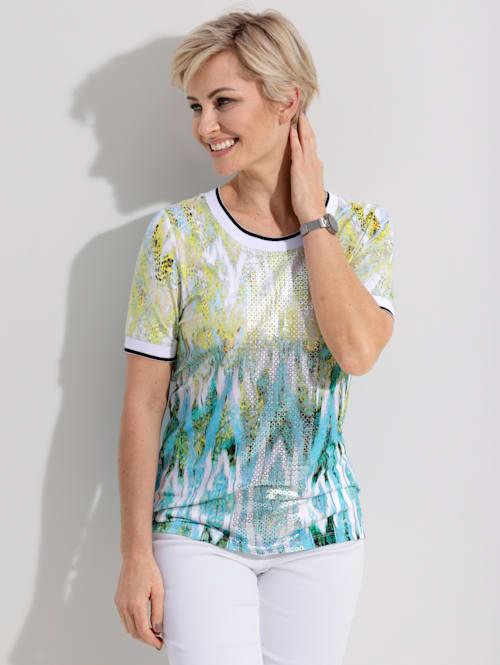 Shirt met trendy print in aquarel