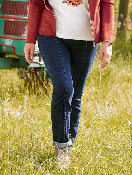 Džínsy s čiastočne elastickou pásovkou pre väčší komfort