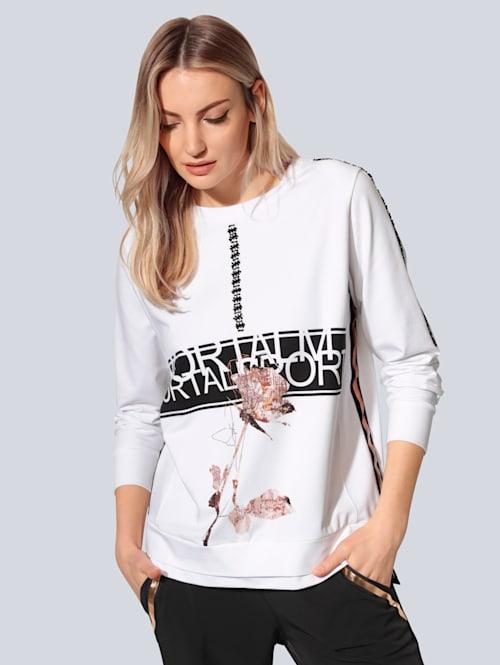 Sweatshirt mit Perlen verziert
