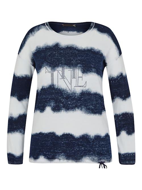 Pullover mit Ringelmuster und überschnittenen Schultern