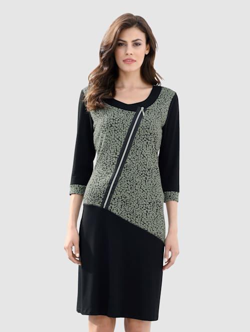 Jerseykleid mit dekorativem Reißverschluss