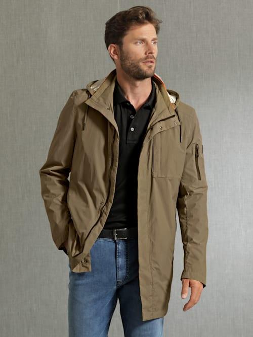 Kabát s praktickým vreckom na odloženie
