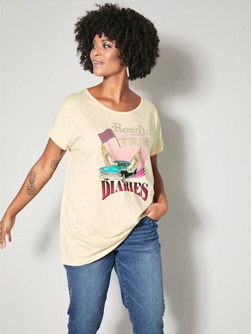 Shirt mit Dekosteinchen im Print