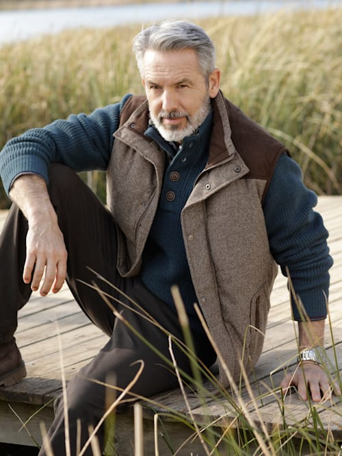 Veste sans manches d'aspect laine chinée
