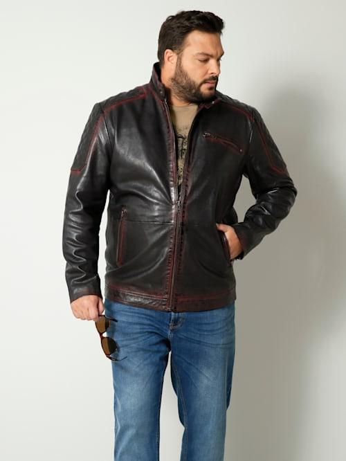 Kožená bunda so stojatým golierom