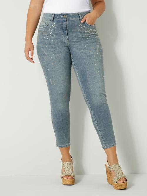 Jeans mit Strasssteinen vorne