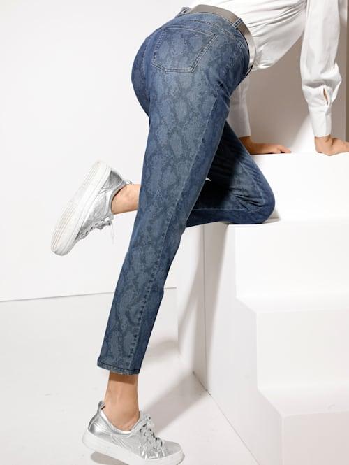 Jeans met trendy slangenpatroon