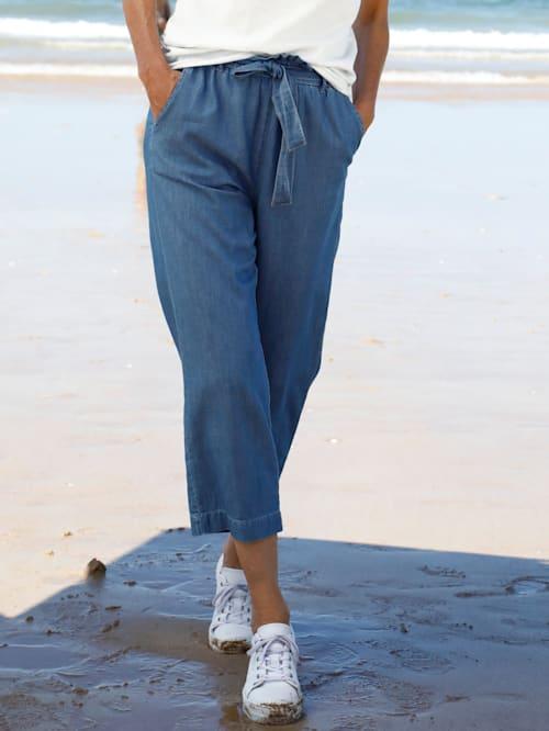 Jeans-Culotte mit Bindeband