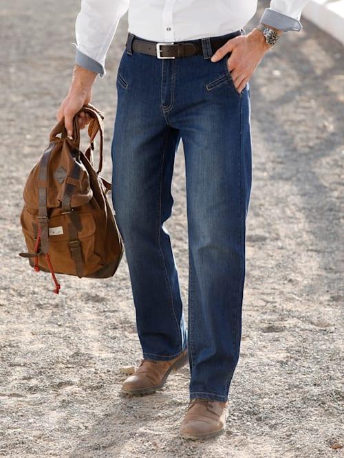 Jeans med detaljer i skinnimitation