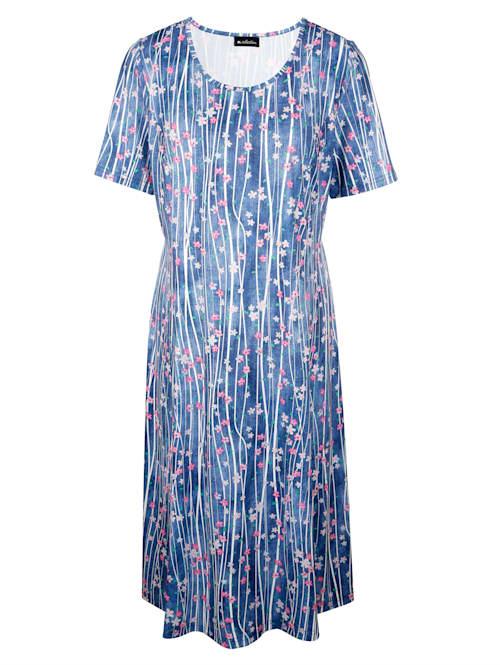 Jerseykleid rundum mit Streifen und Blumendruck