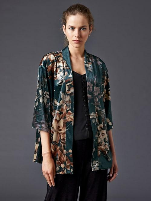 Kimono en velours à motif fleuri