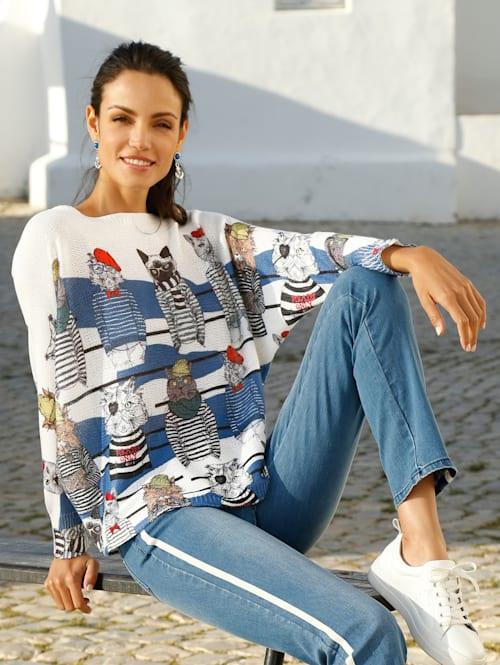 Pullover mit Katzendruck allover