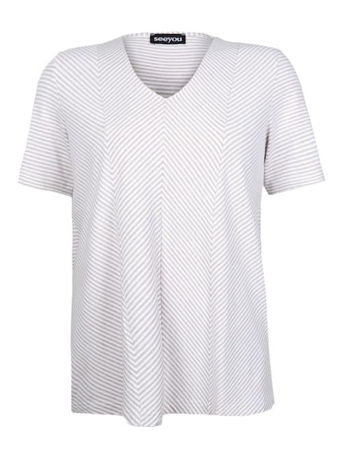 V-Shirt mit Diagonalstreifen .