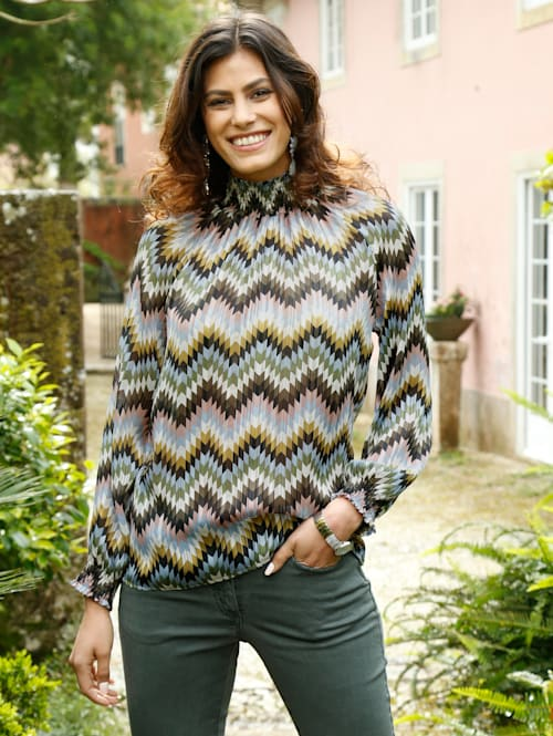 Bluse mit Zick-Zack-Muster