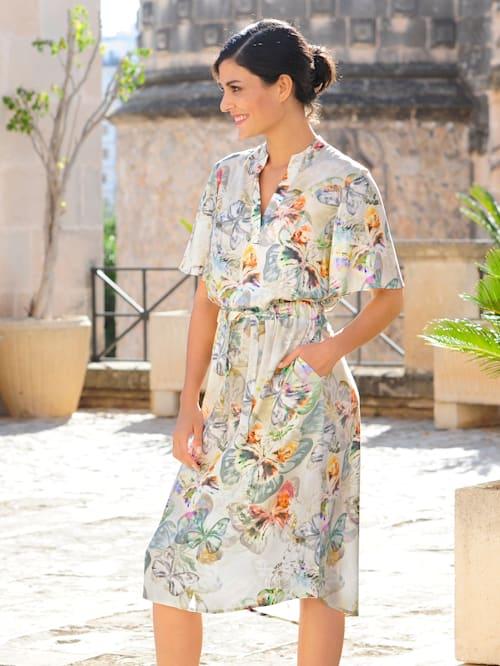 Kleid allover im farbenfrohen Schmetterlings-Druck