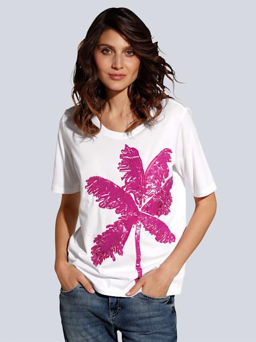 T-Shirt mit großflächiger Palmenstickerei