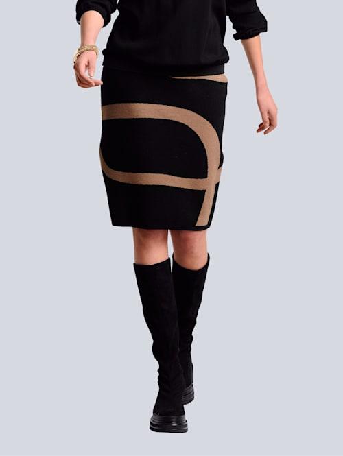 Gebreide rok met grafisch patroon rondom
