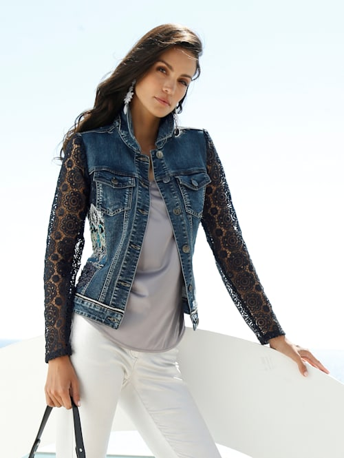 Jeansjacke mit Ärmeln aus Spitze