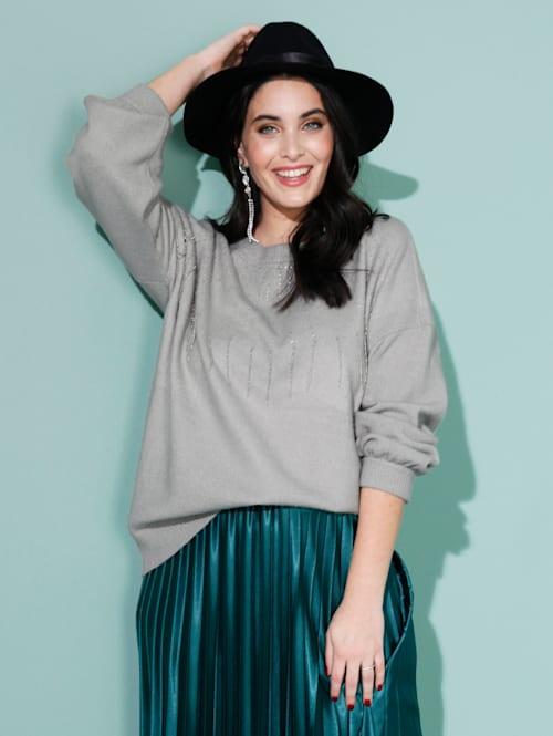 Pullover mit Steinchen- und Perlendekoration