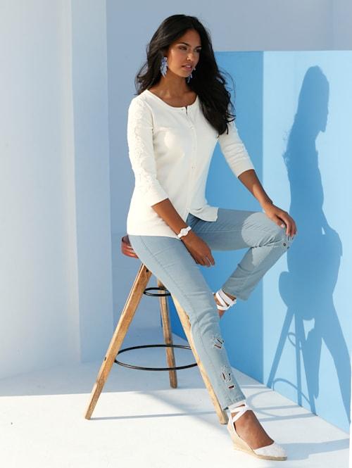 Jeans met borduursel en strassteentjes voor
