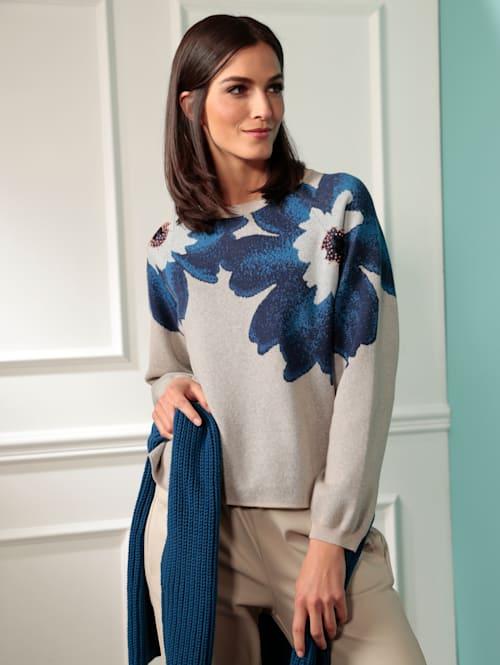 Pullover mit eingestricktem Blumenmotiv