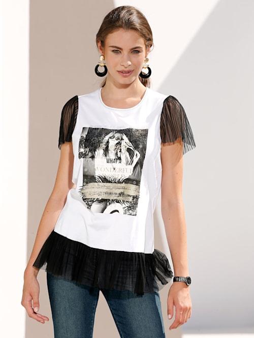 Shirt mit Druck und Pailletten im Vorderteil