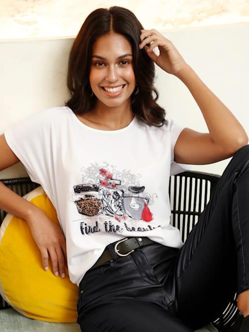 Shirt met parfumprint en strassteentjeversiering