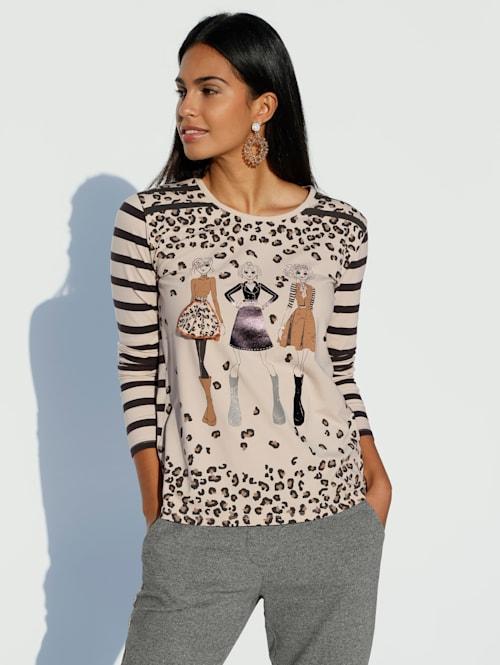 Shirt met strassteentjes voor