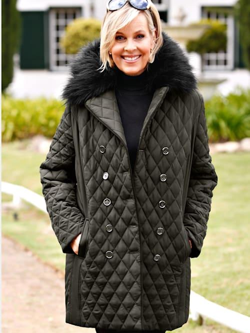 Gewatteerde jas met afneembare imitatiebontrand aan de kraag