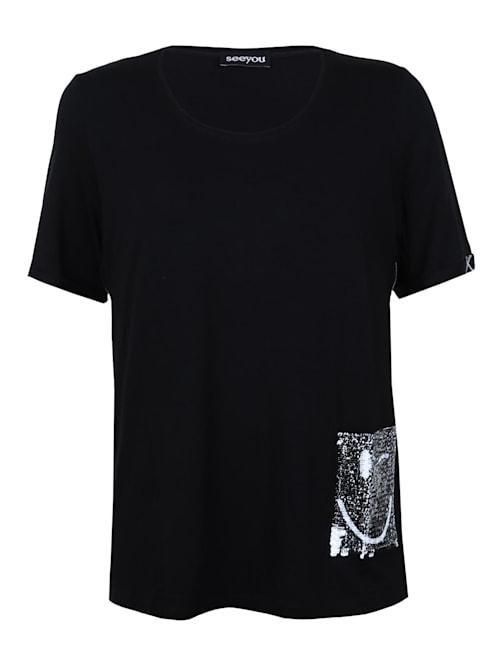Shirt mit Pailletten-Tasche Pailletten