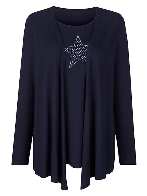 T-shirt 2 en 1 à motif d'étoiles en rivets