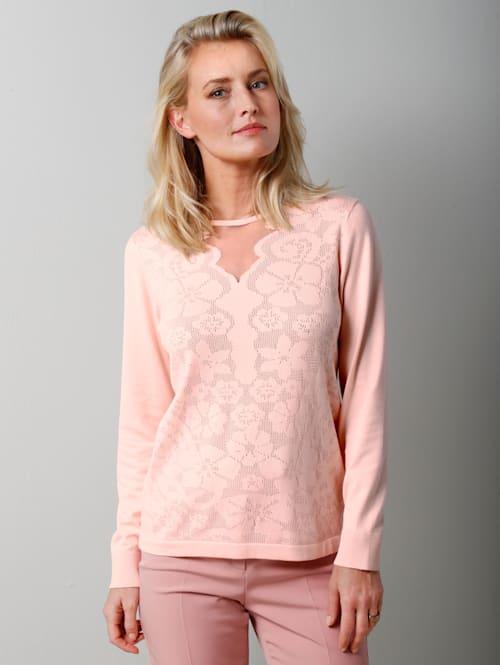 Pullover mit floralem Ajour-Strick