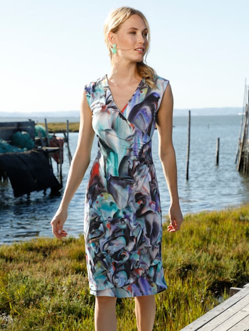 Jersey jurk in wikkellook