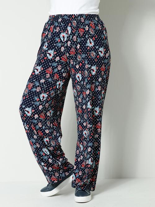 Jersey broek met bloemen- en stippendessin