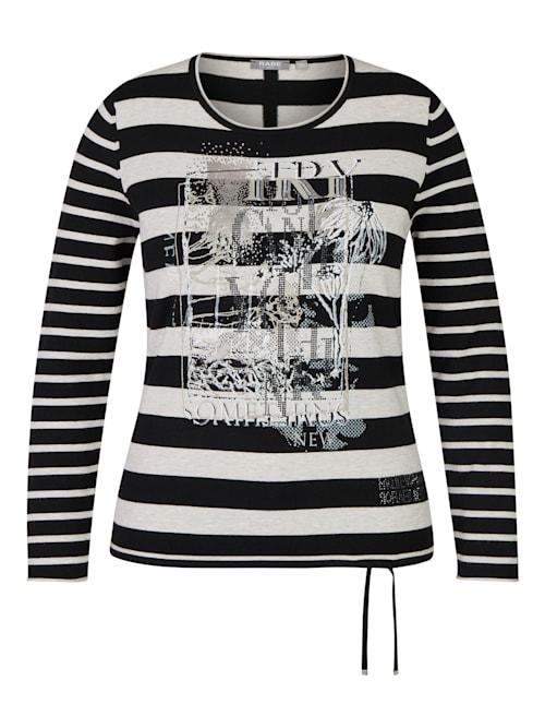 Pullover mit geringeltem Allover-Muster und Glitzerdetails
