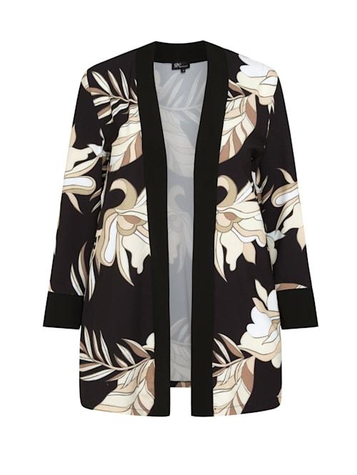 Kimono KIMONO MIT BLUMENMUSTER Kontrastverarbeitung