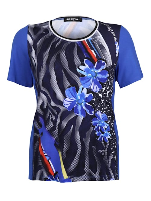 T-Shirt mit Blumenmuster Dekorative Nähte