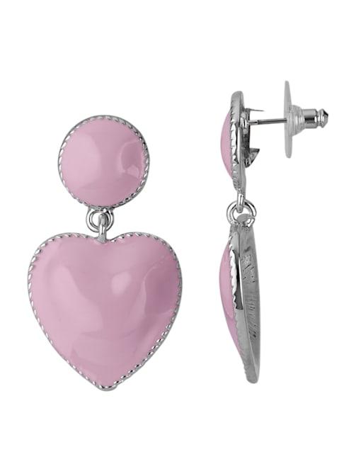 Vaaleanpunaiset sydänkorvakorut